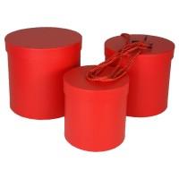 """Набор шляпных коробок """"Цилиндры стандарт"""", цвет красный (3шт), размер 14*14,5см, 17*17см, 19*19см"""