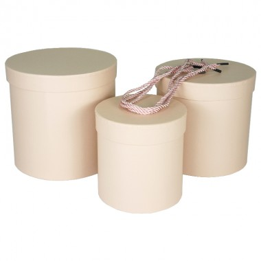 """Набор шляпных коробок """"Цилиндры стандарт"""", цвет розовый (3шт), размер 14*14,5см, 17*17см, 19*19см"""