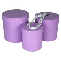 """Набор шляпных коробок """"Цилиндры стандарт"""", цвет сиреневый (3шт), размер 14*14,5см, 17*17см, 19*19см"""