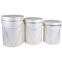 """Набор шляпных коробок """"Элегант"""", цвет белый (3шт), размер 15*19,5см, 16,5*22,5см, 18*24,5см"""