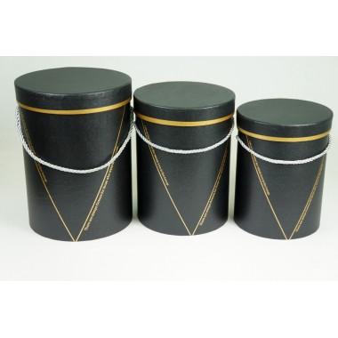 """Набор шляпных коробок """"Элегант"""", цвет черный (3шт), размер 15*19,5см, 16,5*22,5см, 18*24,5см"""