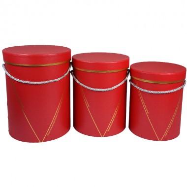 """Набор шляпных коробок """"Элегант"""", цвет красный (3шт), размер 15*19,5см, 16,5*22,5см, 18*24,5см"""