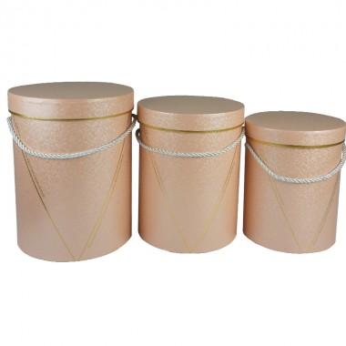 """Набор шляпных коробок """"Элегант"""", цвет персиковый (3шт), размер 15*19,5см, 16,5*22,5см, 18*24,5см"""