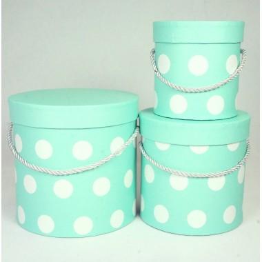 """Набор шляпных коробок """"Горошек"""", цвет бирюзовый (3шт), размер 12*12,2см, 15,5*15см, 18*17,2см"""