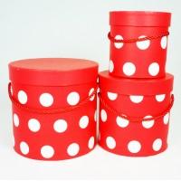 """Набор шляпных коробок """"Горошек"""", цвет красный (3шт), размер 12*12,2см, 15,5*15см, 18*17,2см"""