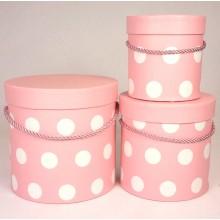 """Набор шляпных коробок """"Горошек"""", цвет розовый (3шт), размер 12*12,2см, 15,5*15см, 18*17,2см"""