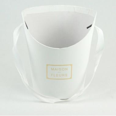 Конус миди для цветов (белый), размер 15,5см*12см*19см