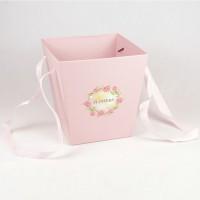 Кашпо для цветов (розовый), размер 17см*17см*18см