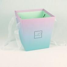 Кашпо для цветов (сиренево-бирюзовый), размер 17см*17см*18см