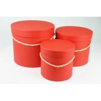 """Набор шляпных коробок """"Классик"""", цвет красный (3шт), размер 14*12,6см, 17,5*14,6см, 20*17,2см"""