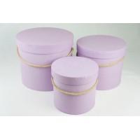 """Набор шляпных коробок """"Классик"""", цвет лавандовый (3шт), размер 14*12,6см, 17,5*14,6см, 20*17,2см"""