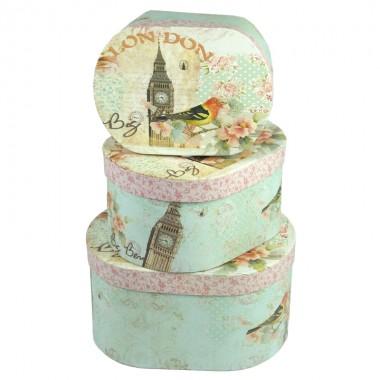 """Набор шляпных коробок """"Лондон"""", (3шт), размер 17,5*12,8*9см, 20*15,5*10,5см, 22,7*18*12см"""