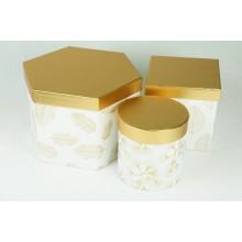 """Набор шляпных коробок """"Пушинка микс"""", цвет белый (3шт), размер 12,2*12,2см, 13,5*13,5см, 22,5*15см"""