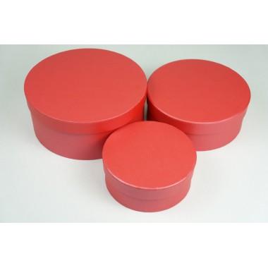 """Набор шляпных коробок """"Мини"""", красный с перламутром (3шт), размер 14*5,5см, 17,5*6,5см, 20*8,5см"""