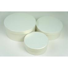 """Набор шляпных коробок """"Мини"""", кремовый с перламутром (3шт), размер 14*5,5см, 17,5*6,5см, 20*8,5см"""
