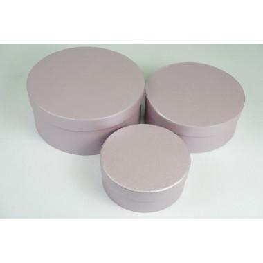 """Набор шляпных коробок """"Мини"""", лавандовый с перламутром (3шт), размер 14*5,5см, 17,5*6,5см, 20*8,5см"""
