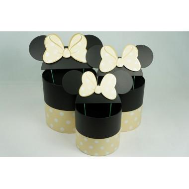 """Набор шляпных коробок """"Минни Маус"""", цвет кремовый (3шт), размер 15*15*14,5см, 17*17*17см, 19*19*19см"""