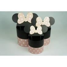 """Набор шляпных коробок """"Минни Маус"""", цвет розовый (3шт), размер 15*15*14,5см, 17*17*17см, 19*19*19см"""