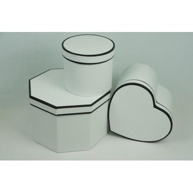 """Набор шляпных коробок """"Микс"""", цвет белый (3шт), размер 14*14*12,2см, 18*20*13,7см, 22*22*15см"""