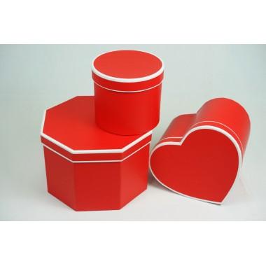 """Набор шляпных коробок """"Микс"""", цвет красный (3шт), размер 14*14*12,2см, 18*20*13,7см, 22*22*15см"""