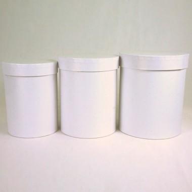 """Набор шляпных коробок """"Макси"""", белый с перламутром (3шт), размер 14*18см, 16*20см, 18*21см"""