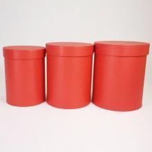 """Набор шляпных коробок """"Макси"""", красный с перламутром (3шт), размер 14*18см, 16*20см, 18*21см"""