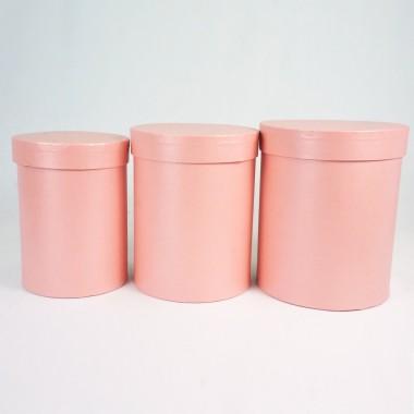 """Набор шляпных коробок """"Макси"""", персиковый с перламутром (3шт), размер 14*18см, 16*20см, 18*21см"""