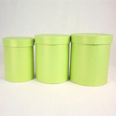 """Набор шляпных коробок """"Макси"""", салатовый с перламутром (3шт), размер 14*18см, 16*20см, 18*21см"""