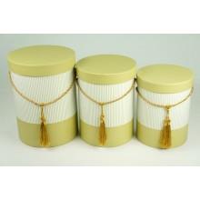 """Набор шляпных коробок """"Полоса"""", цвет оливковый (3шт), размер 15*19,5см, 16,5*22,5см, 18*24,5см"""