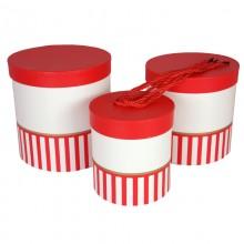 """Набор шляпных коробок """"Цилиндры половинки"""", цвет красный (3шт), размер 14*14,5см, 17*17см, 19*19см"""