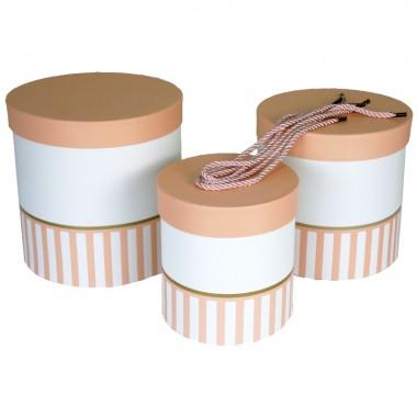 """Набор шляпных коробок """"Цилиндры половинки"""", цвет розовый (3шт), размер 14*14,5см, 17*17см, 19*19см"""