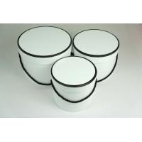 "Набор шляпных коробок ""Кант"", цвет белый (3шт), размер 13,5*11,2см, 15,4*12,2см, 17,4*13,2см"