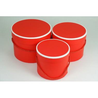 """Набор шляпных коробок """"Кант"""", цвет красный (3шт), размер 13,5*11,2см, 15,4*12,2см, 17,4*13,2см"""
