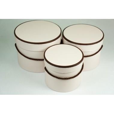 "Набор шляпных коробок ""Кант"", цвет розовый (3шт), размер 13,5*11,2см, 15,4*12,2см, 17,4*13,2см"