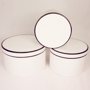 "Набор шляпных коробок ""Кант макси"", цвет белый (3шт), размер 19*13,5см, 22*14,5см, 25,5*15см"
