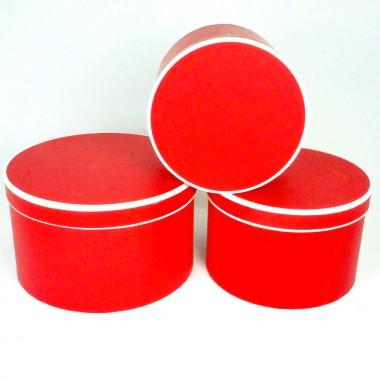 """Набор шляпных коробок """"Кант макси"""", цвет красный (3шт), размер 19*13,5см, 22*14,5см, 25,5*15см"""