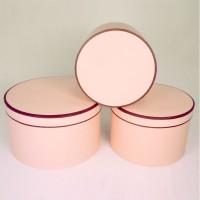 """Набор шляпных коробок """"Кант макси"""", цвет розовый (3шт), размер 19*13,5см, 22*14,5см, 25,5*15см"""