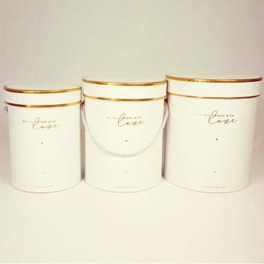 """Набор шляпных коробок """"Золотая окантовка"""", белый (3шт), размер 14*18см, 16*20см, 18*21см"""