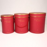 """Набор шляпных коробок """"Золотая окантовка"""", бордовый (3шт), размер 14*18см, 16*20см, 18*21см"""