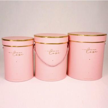 """Набор шляпных коробок """"Золотая окантовка"""", розовый (3шт), размер 14*18см, 16*20см, 18*21см"""