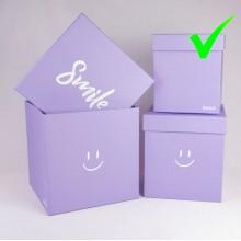 "Шляпная коробка ""Smile"", цвет сиреневый, размер 15*15*17,5см"