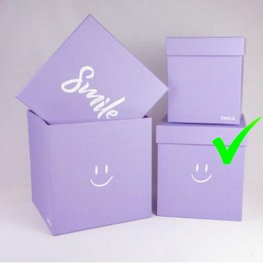 "Шляпная коробка ""Smile"", цвет сиреневый, размер 18*18*19см"