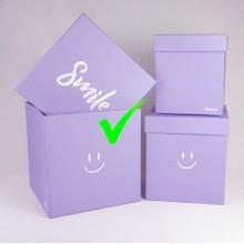 "Шляпная коробка ""Smile"", цвет сиреневый, размер 21*21*21см"