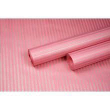 """Бумага упаковочная с рисунком """"Полоска малая"""" 60см*10м (серебро на розовом)"""