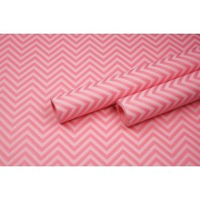 "Бумага упаковочная с рисунком ""Зигзаг"" 60см*10м (белый на розовом)"
