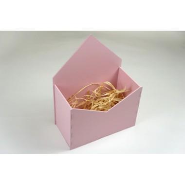 Конверт для цветов из МДФ 18см*24см*9см (цвет розовый)