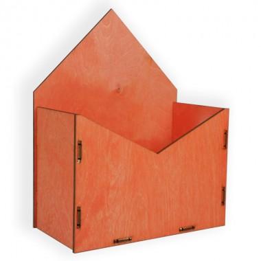 Конверт для цветов деревянный 24см*19см*10см (цвет красный)