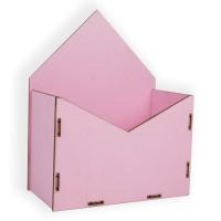 Конверт для цветов деревянный 24см*19см*10см (цвет розовый)