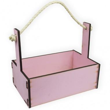 Ящик декоративный большой 24см*16см (цвет нежно-розовый)
