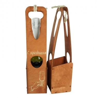 Футляр деревянный для шампанского 37,5см*9см*10см (цвет коричневый)